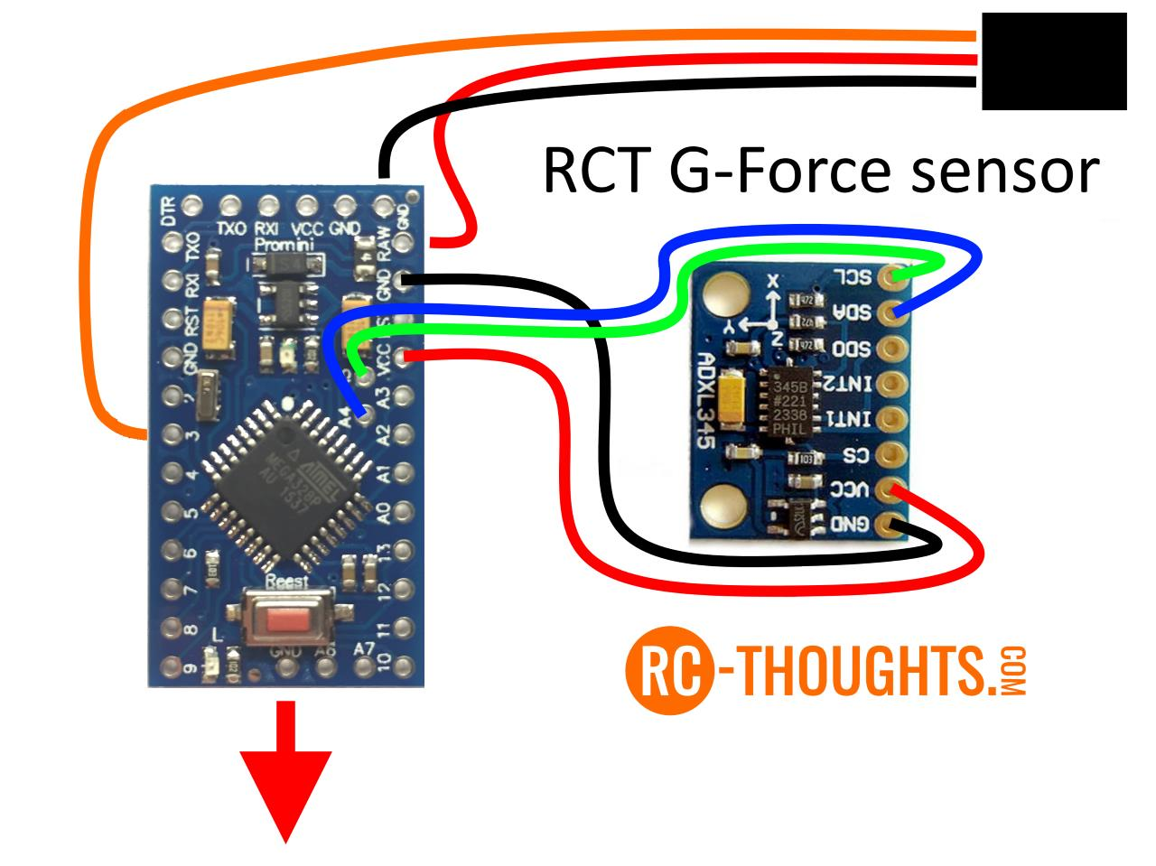 Jeti G Force Sensor Ogo Wiring Diagram Important Note Is Drawn To Schematic As It Supposed Be Installed In Your Model That Means Installing Adxl345 On Top Of Arduino Pro Mini Needs
