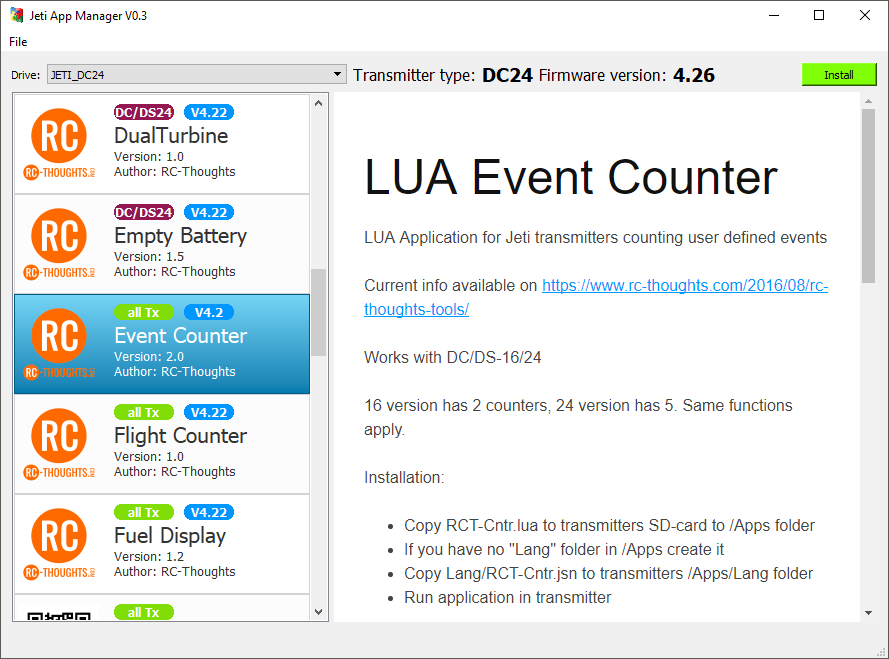 Installation of Lua-apps – RC-Thoughts com